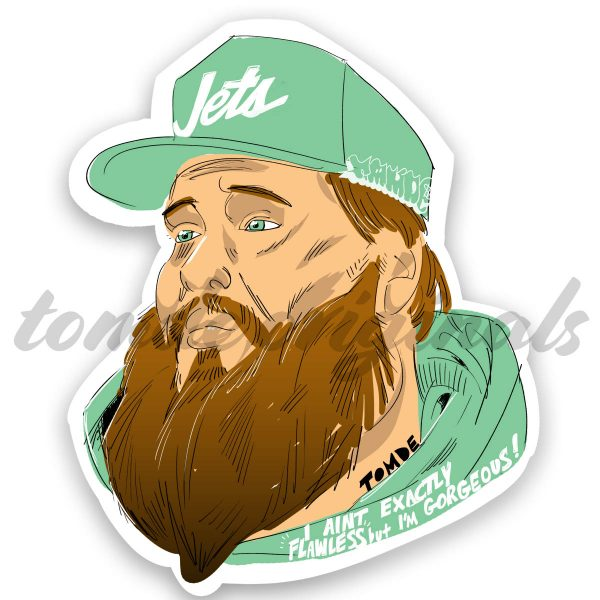 action bronson sticker wearing jets cap
