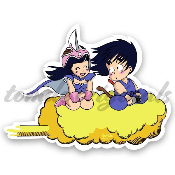 goku and chi-chi riding on the nimbus dragonball