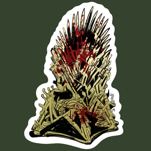 iron throne sticker design by tomde studio